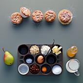 Birnenmuffins mit Zutaten