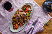 Roast lamb with peppers