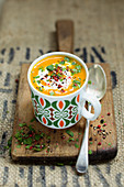 Vegan carrot and ginger soup