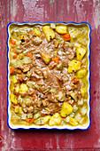 Vegan Jerusalem artichoke potato casserole