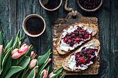 Sourdough toasts with ricotta, berries and filter coffee