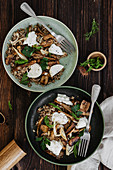 Buckwheat with Lentils, Mushrooms and Burrata