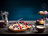 Lemon tart with berries