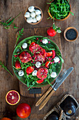 Strawberry blood orange salad with mozzarella