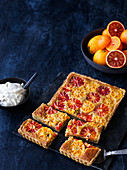 Rectangular blood orange tart