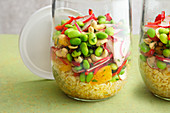Bulgur salad with edamame beans to take away