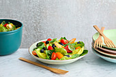 Mixed leaf salad with cherry tomatoes and blueberries