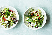 Zoodles with vegetables, salad and tomatoes