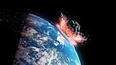 Asteroid impacting Earth, illustration