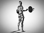 Man lifting barbell, illustration
