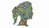 Skin microbiota, conceptual illustration