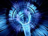 Futuristic warp technology, abstract fractal illustration