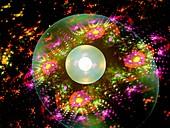 Subatomic world with quantum bubble, abstract illustration