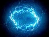 Plasma lightning in space, abstract illustration