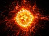 Fireball lightning, abstract illustration