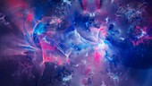 Plasma field in deep space, abstract illustration
