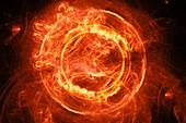 Plasma flame portal, abstract illustration