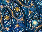 Stained glass, abstract fractal illustration