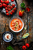 Pepper and tomato soup with cheese and rice