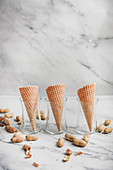 Waffle cones and peanuts