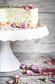 No bake milk rice cake with rose petals
