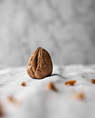 Walnut on white linen