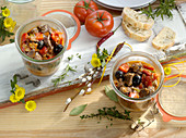 Mediterranean lamb ragout in glasses for Easter