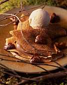 Crepes with chestnut cream and ice cream