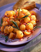 Melon salad with pomegranate and lavender