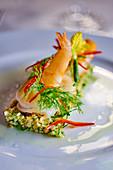 Shrimps on zucchini mince