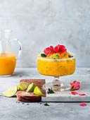 Mango sorbet with flowers