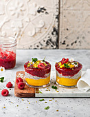 Chia pudding with fruit sauce
