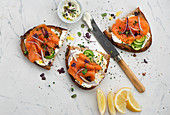 Sandwiches with cream cheese and smoked salmon