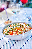 Pearl couscous salad with trout caviar