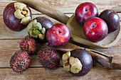 Mangosteen, rambutan and plums