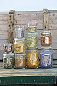 Storage jars with dried tea herbs
