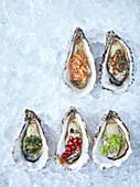 Austern mit verschiedenen Toppings