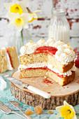 Classic Vanilla Sponge Cake with Jam and Whipped Cream
