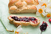 Vegan sweet Easter braid with cherry jam