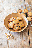 Gluten-free cookies made from green banana flour, candied ginger and chocolate drops