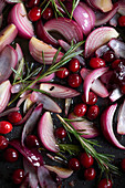 Red onions with cranberries and rosemary