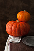 Two orange pumpkins on a rustic wooden table