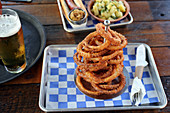 Onion ring tower at a German-style beer garden