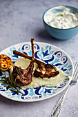 Roast lamb chops with garlic cream and Tzatziki