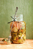 Brussels sprouts in a mason jar