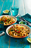 Malaysian prawn with chilli and fried noodles