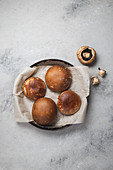 Portobello mushroom bun for preparation vegan, gluten free burger