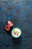 Yogurt with mint and pomegranate