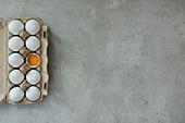Eier im Eierkarton, davon eins aufgeschlagen