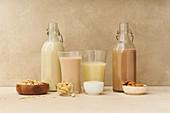 Hafermilch, Cashewmilch, Reismilch und Schokoladen-Mandelmilch